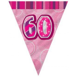 60th Birthday Pink Glitz Flag Banner