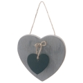 Soft Grey & Black Hanging Heart Decoration