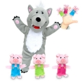 Big Bad Wolf & the Three Little Pigs Hand & Finger Puppet Set