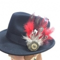 Feather Hat brooch - Red