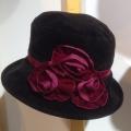 Verity Suedetter Velvet Rosette, Black burgundy