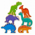 Set of 6 Wooden DInosaurs in a bag